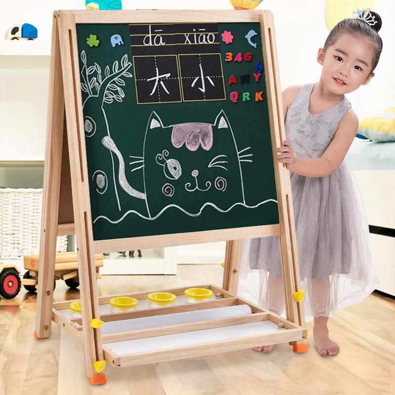 儿童宝宝绘画板小黑板支架式挂式家用套装双面磁性粉笔涂鸦写字板