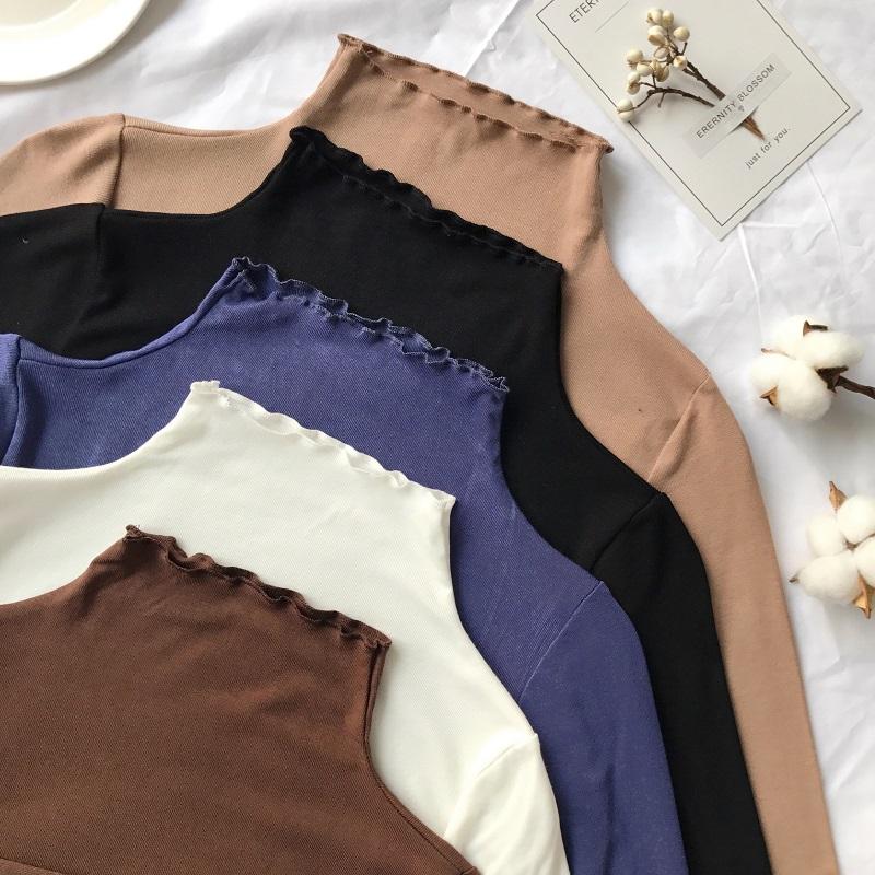 初秋装2019年新款半高领打底衫修身ins潮洋气秋衣外穿长袖t恤女装