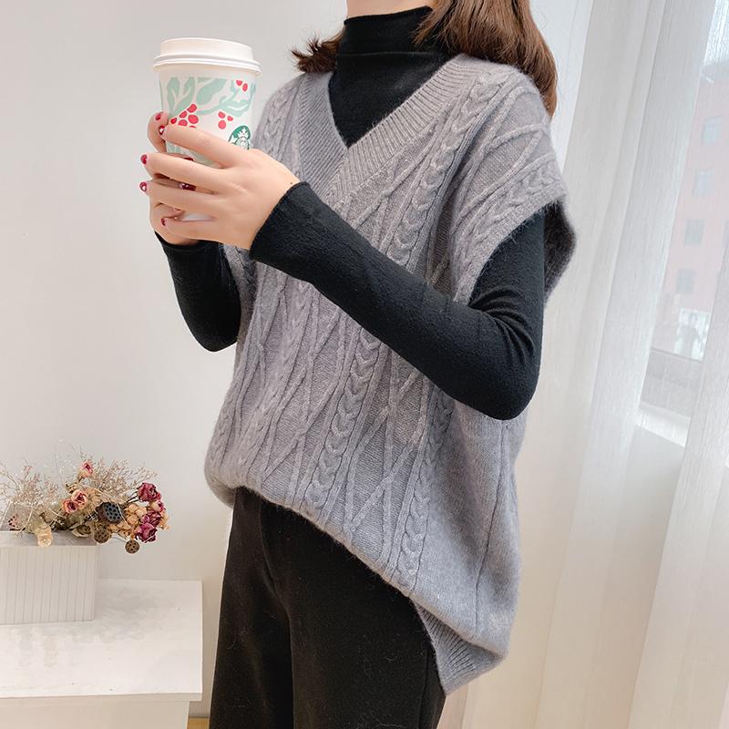 Twist sweater womens Vest shoulder knitted vest Korean mesh red versatile loose V-neck Pullover new thickening spring