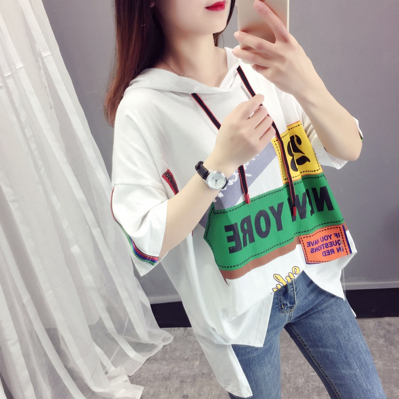 2019 summer new print stitching slim loose T-shirt womens fashion brand large hooded short sleeve top women