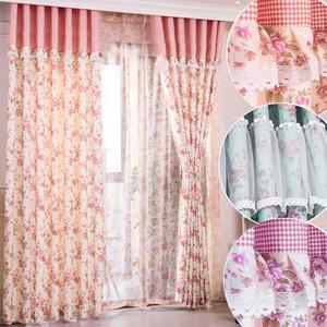 田园风格小碎花公主粉色遮光窗帘布卧室飘窗定制帘头花边拼接成品
