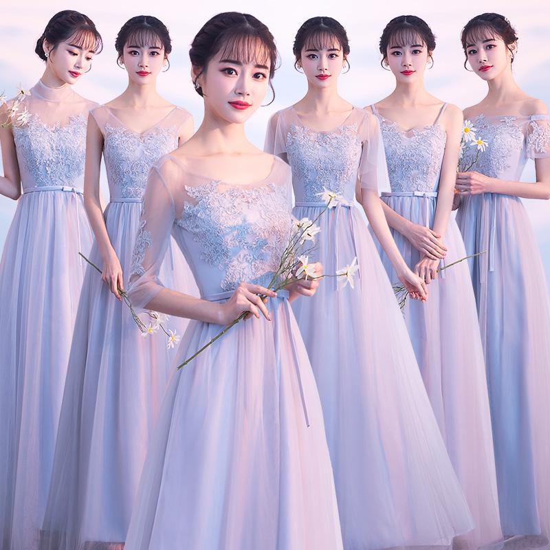 伴娘服2018新款秋季姐妹团韩版闺蜜装灰色长款宴会晚礼服显瘦修身