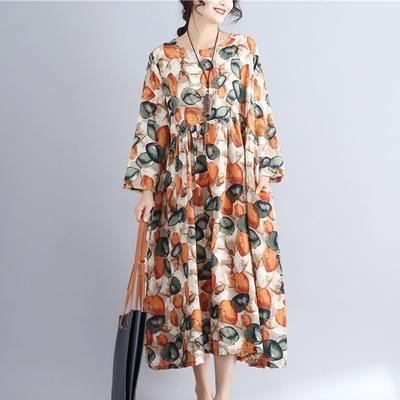 民族风胖妹妹2020秋装特大码女装200斤宽松中长款长袖棉麻连衣裙