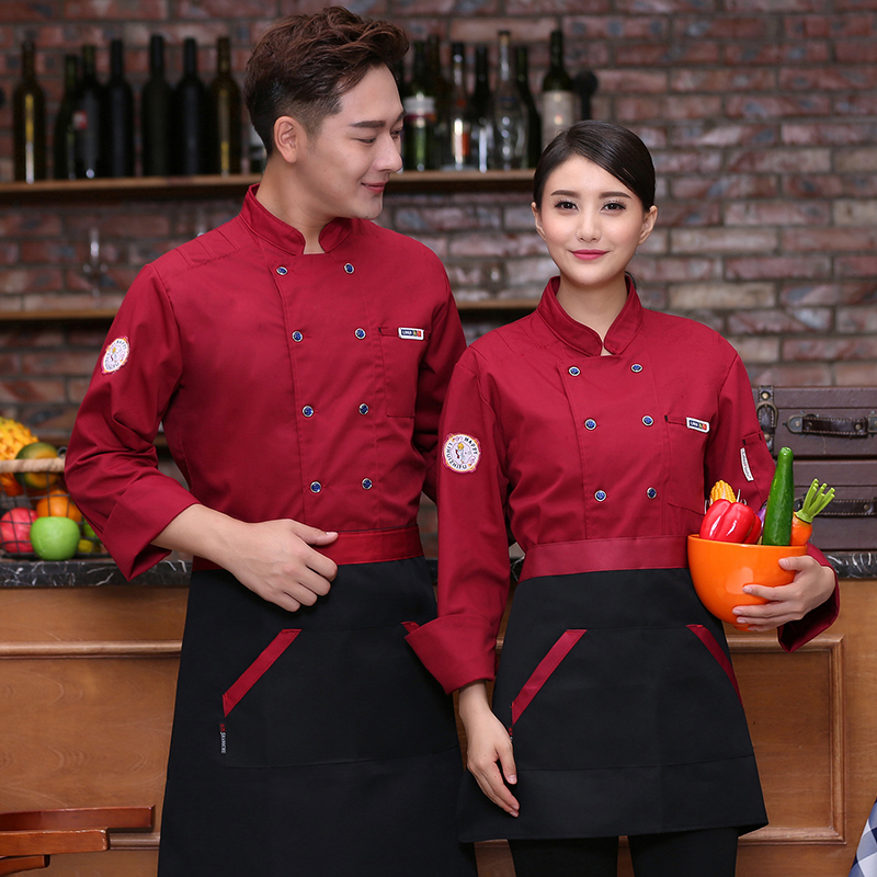 Catering chefs clothes long sleeve autumn and winter clothes barbecue workers work clothes Bakers uniform bakers work clothes cake clothes