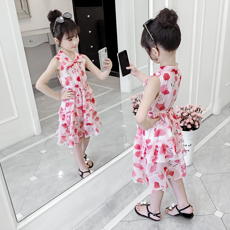Girls' dress summer dress 2020 new style children's chiffon skirt little girls' summer Korean Princess children's dress