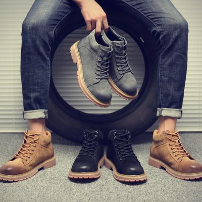 马丁靴男英伦真皮雪地沙漠工装男鞋潮男靴子加绒棉鞋军靴高帮冬季