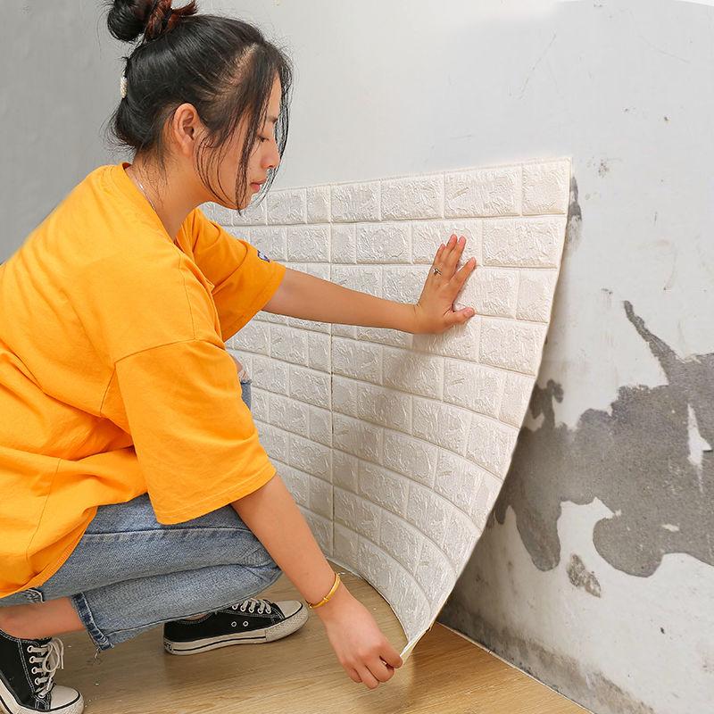 墙纸自粘3d立体墙贴卧室客厅宿舍装饰背景墙壁纸自粘防水防撞墙贴