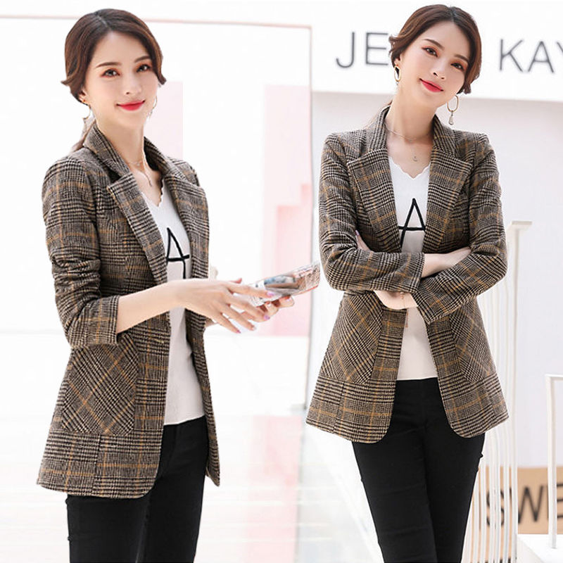 Large women's new autumn top Korean Short thousand bird Plaid Wool casual women's Blazer