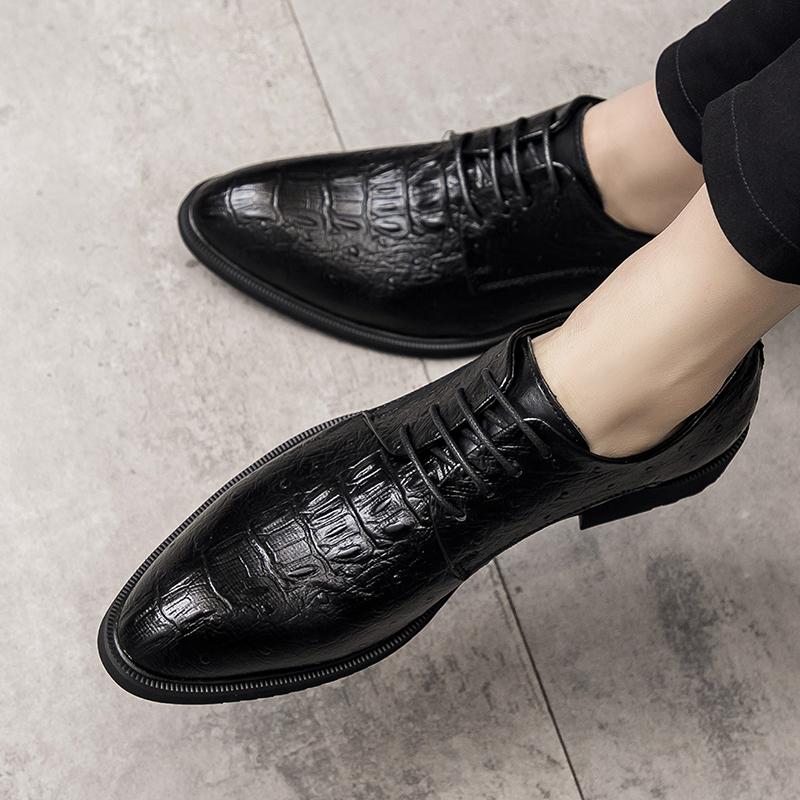 夏季休闲小皮鞋潮流男士黑色尖头商务英伦韩版鳄鱼纹内增高男鞋子