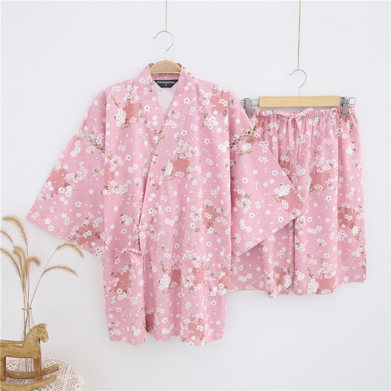 日本春夏女士和服浴衣和风甚平日式汗蒸服系带短袖睡衣套装樱花