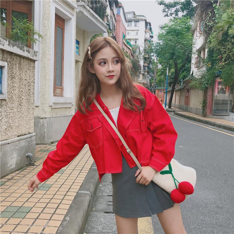 新款韩版小外套女春季薄款学生短款牛仔外套时尚西装领夹克上衣女
