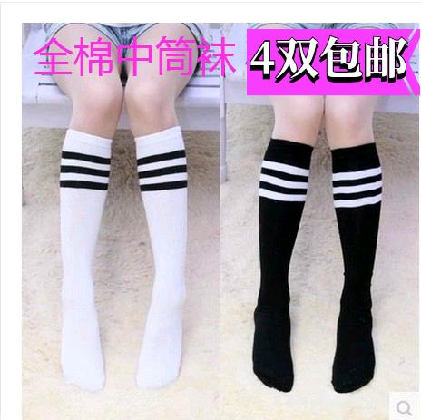 儿童横条纹袜纯棉黑白条纹学生中筒袜三条杠足球袜宝宝长筒袜子