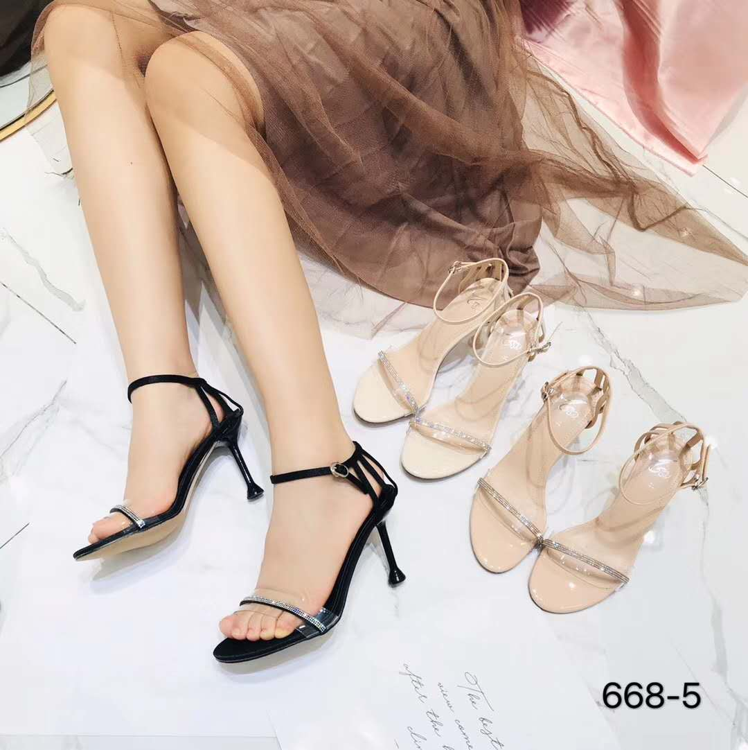 2020 new style diamond inlaid one line buckle simple versatile sandals transparent open toe sexy banquet high-heeled shoes