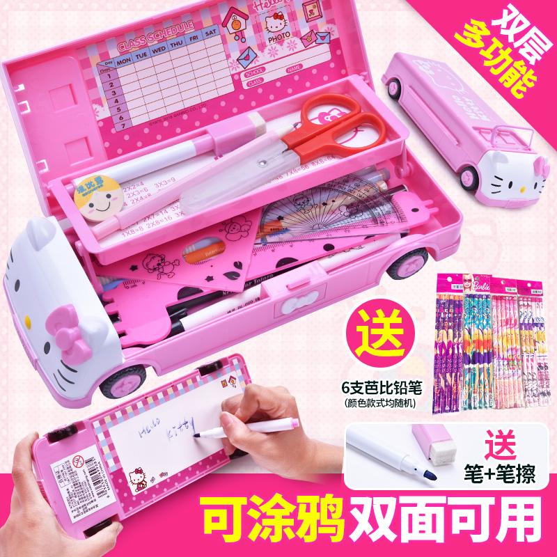 文具盒女凯蒂猫儿童多功能女生小学生可爱笔盒女童多层公主铅笔盒