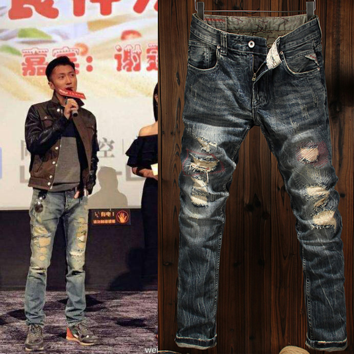 Fall / winter 2020 Europe and the United States fashion brand hole patching beggar slim feet straight tube youth retro old jeans man