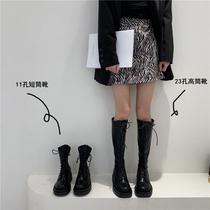酷ins秋季新款马丁靴女鞋百搭英伦风真皮厚底小短靴潮2020千百度