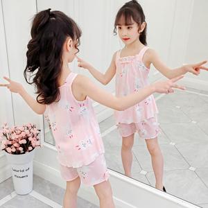 女童棉绸睡衣短袖套装儿童薄款夏季绵绸吊带小女孩空调家居服宝宝