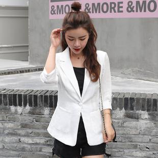 上衣春夏韩国七分袖 小西装 2019新款 西服棉麻网红气质薄休闲外套女