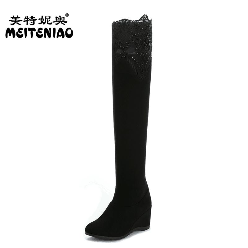 款坡跟高筒靴 高跟彈力過膝靴絨麵長筒靴 瘦腿套筒過膝長靴女