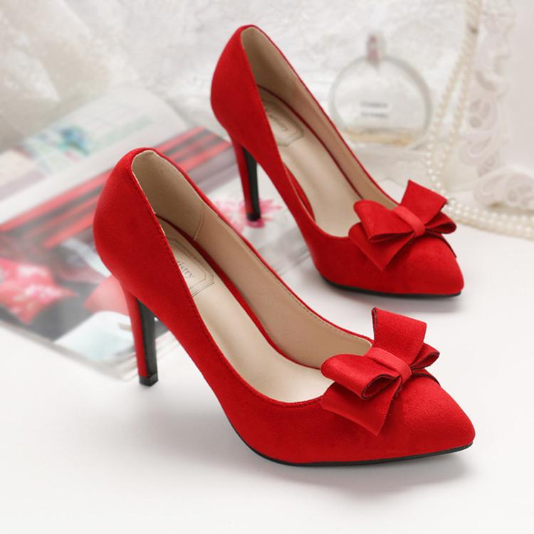 秋季新娘婚鞋女黑色单鞋大码女鞋40 41 43红色结婚尖头高跟鞋细跟