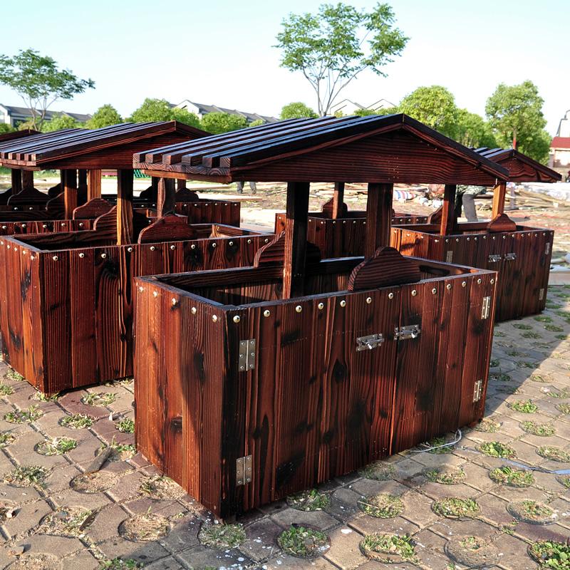定做炭化防腐木垃圾箱户外垃圾桶景区户外小区公园垃圾桶果壳箱