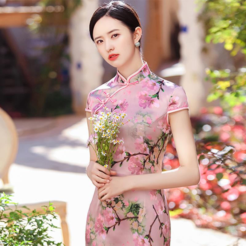 2021新款旗袍夏季自然风清新俏皮温婉可爱淑女风修身旗袍人气新品