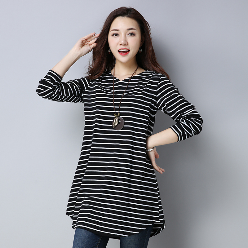 Spring and autumn wear long sleeve T-shirt, base shirt, extra large, mothers clothes, middle-aged and old womens clothes, 40-50 years old