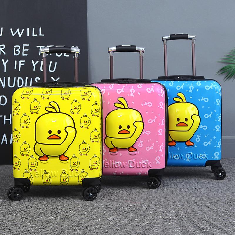 抖音小黄鸭 拉杆箱儿童行李箱3D旅行箱万向轮 18寸登机箱卡通密码