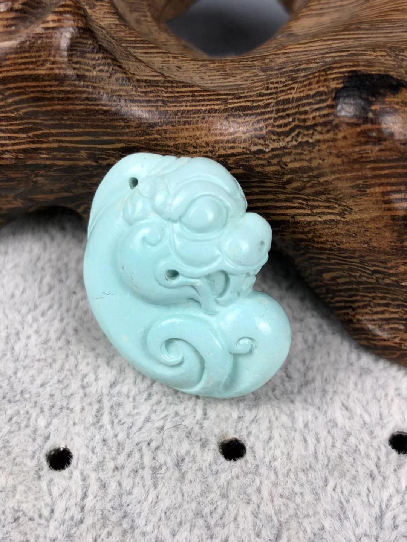 湖北天然原矿高瓷无优化无注胶绿松石貔貅精工雕刻招财进宝