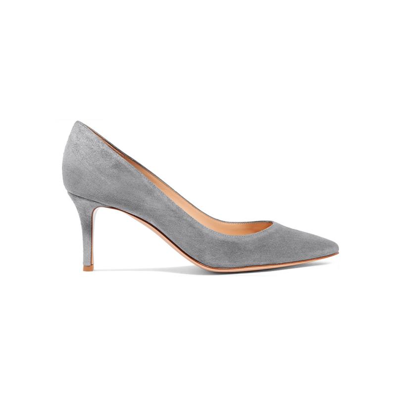Gianvito Rossi 18SS GR elephant grey deerskin 70mm high heels