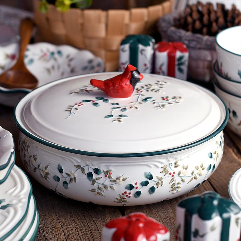 北美红雀冬青浆果欧式陶瓷餐具汤锅汤碗汤盆手绘浮雕彩绘带盖耐热