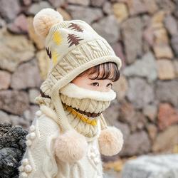 儿童帽子冬季男童女童加绒加厚护耳宝宝毛线帽子围巾一体帽潮冬天