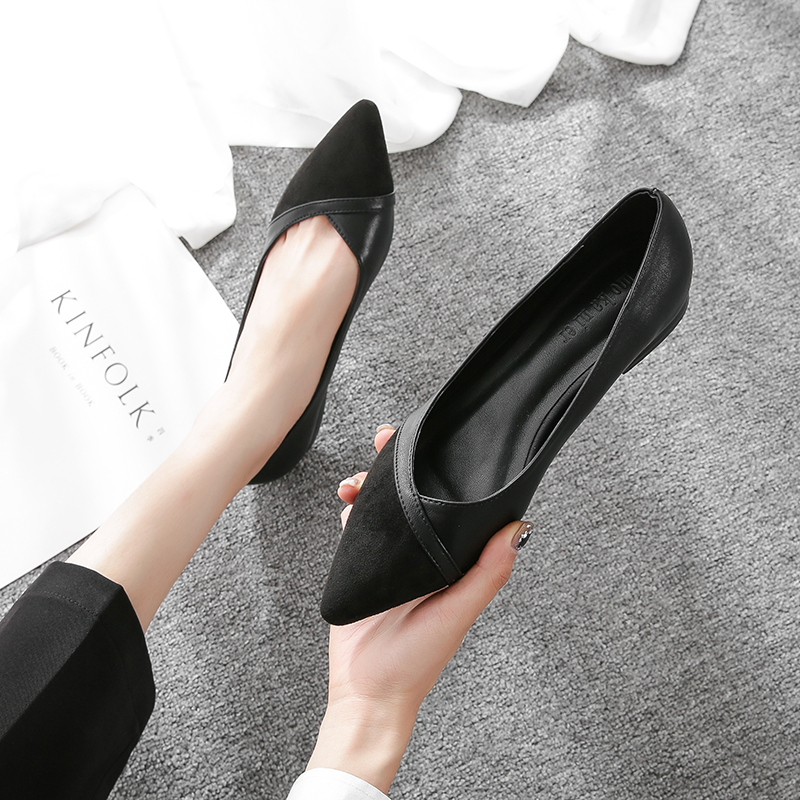 Black flat shoes female go to work 2021 spring commute soft leather stitching low heel shallow mouth pointed work shoes four seasons single shoes