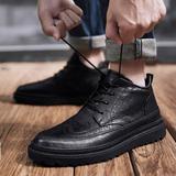 2020新款春季韩版潮流百搭板鞋男士商务休闲布洛克英伦风小皮鞋子