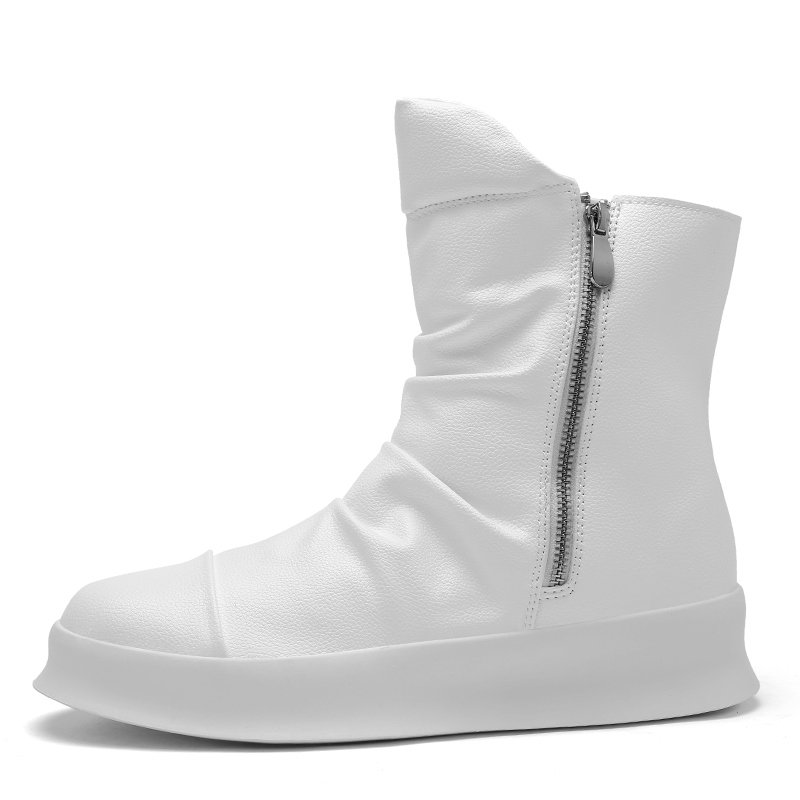 British style Chelsea Martin boots men's leisure Korean fashion small white high-top shoes