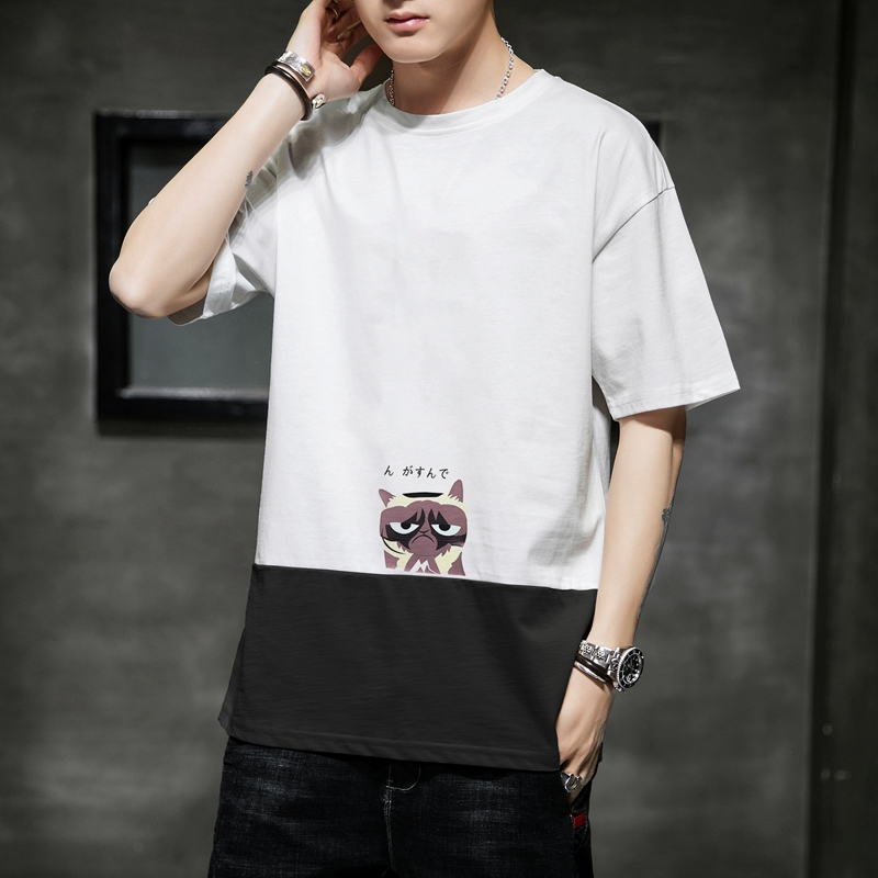 Short sleeve mens summer new 2020 Korean fashion mens T-shirt handsome round neck loose casual cotton clothes
