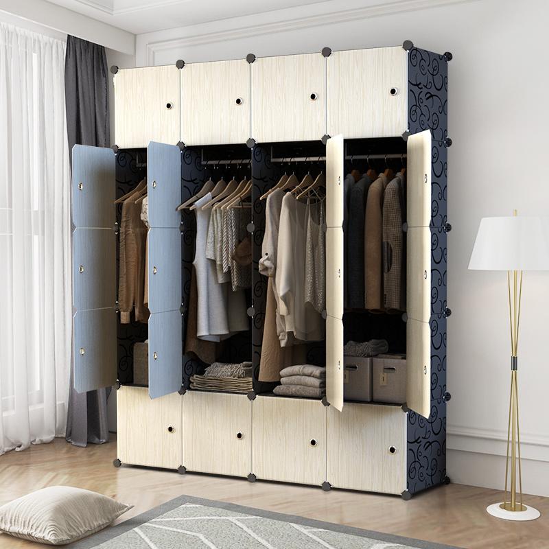 衣柜塑料简易布艺简约现代收纳储物柜省空间仿实木经济型组装衣橱