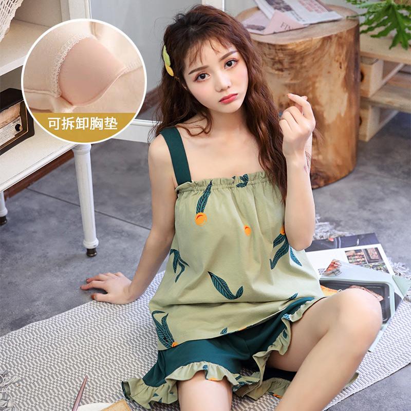高档睡衣女夏季可款薄胸垫带外穿纯棉性感I可爱日系带bra两件奢华