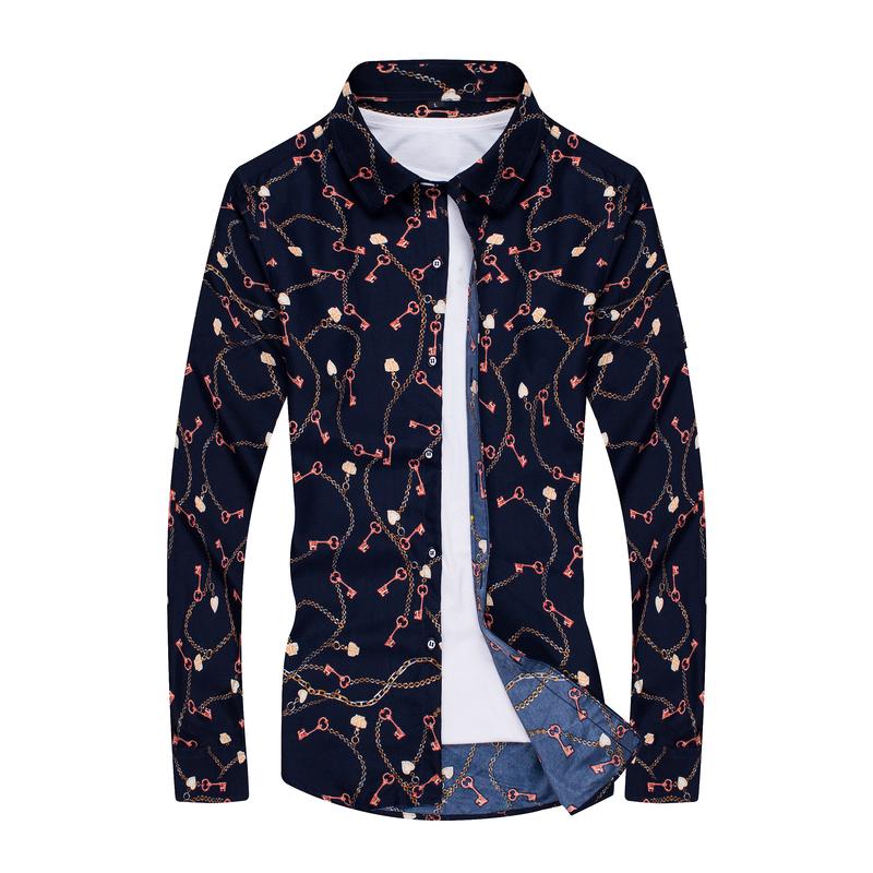 1507-C65-P18男装免烫衬衣修身印花衬衫潮流碎花长袖衬衫男大码