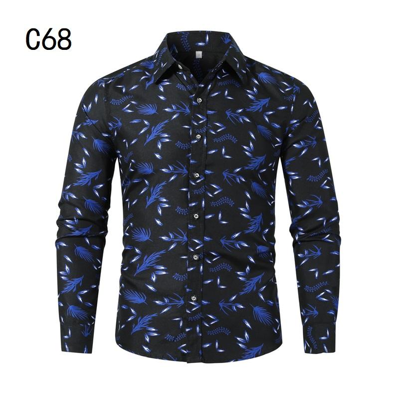 1507-C68-P18男装2021秋装新款大码长袖衬衫花色印花衬衣男装免烫