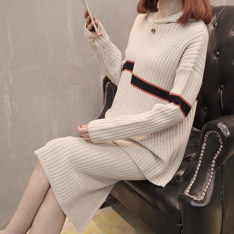 2762实拍新款连帽拼色针织裙套装两件套时髦时尚针织毛衣特价