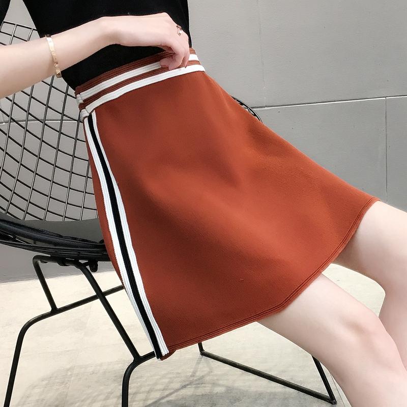 16455特卖实拍条纹冰麻针织半身裙--可代发联系阿里旺旺