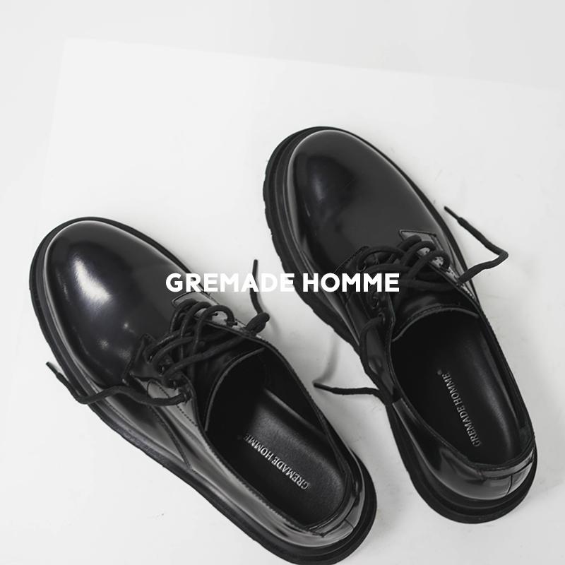 3.5CM增高潮流皮鞋derby进口小牛皮双层底VIBEGREMADE