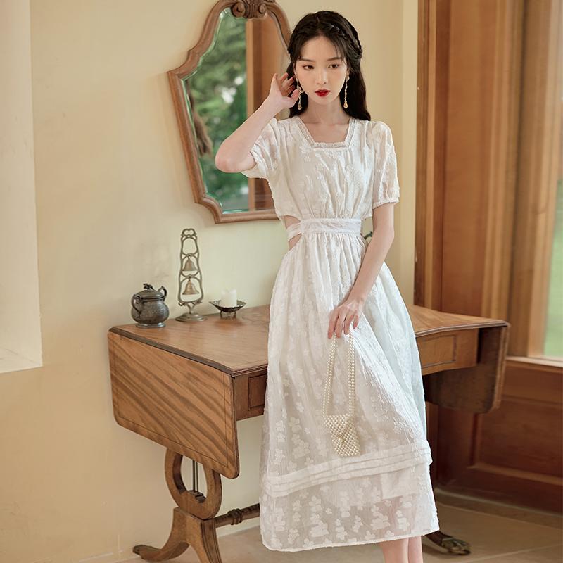 实拍2021夏新款女减龄法式复古连衣裙超仙森系初恋短袖裙设计感