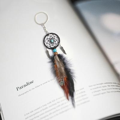 捕梦网钥匙扣手工创意羽毛古银叶子小礼品挂件挂饰送同学女友礼物