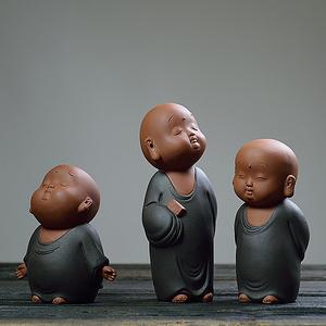 创意个性可爱小和尚沙弥禅意摆件茶宠可养茶玩陶瓷紫砂功夫小饰品