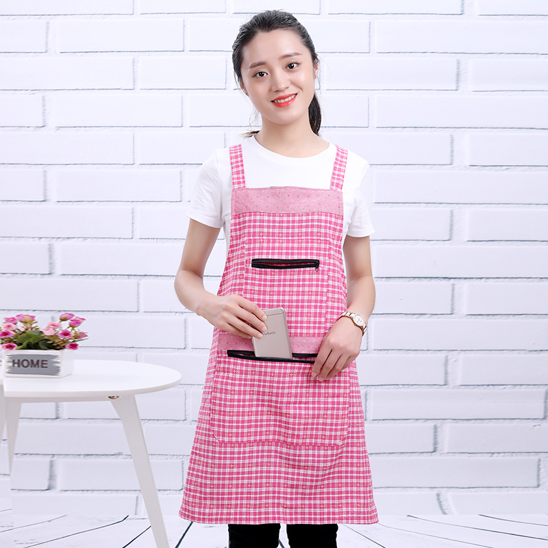 Korean version of pure cotton i-shoulder apron antifouling double pocket zipper cover coat family kitchen cooking and cleaning service staff