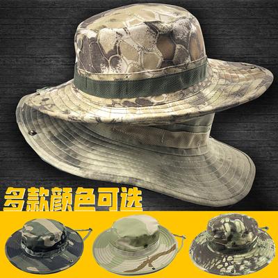 迷彩奔尼帽户外圆边帽男防晒太阳帽遮阳帽夏季骑行登山钓鱼渔夫帽