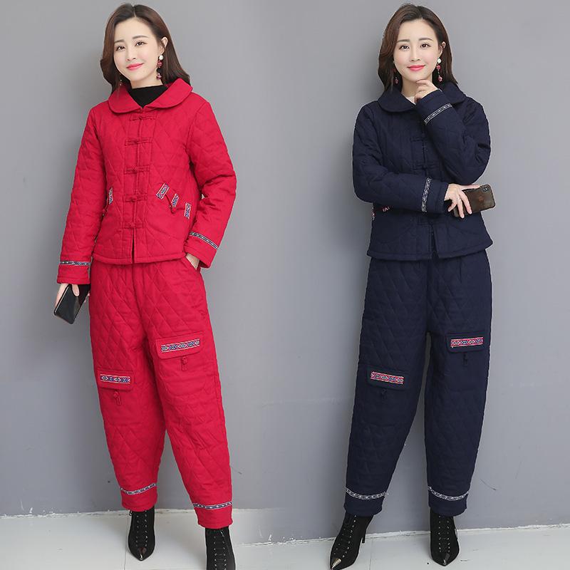 秋冬民族风加棉加厚套装女中老年棉麻大码复古阔腿裤棉衣两件套