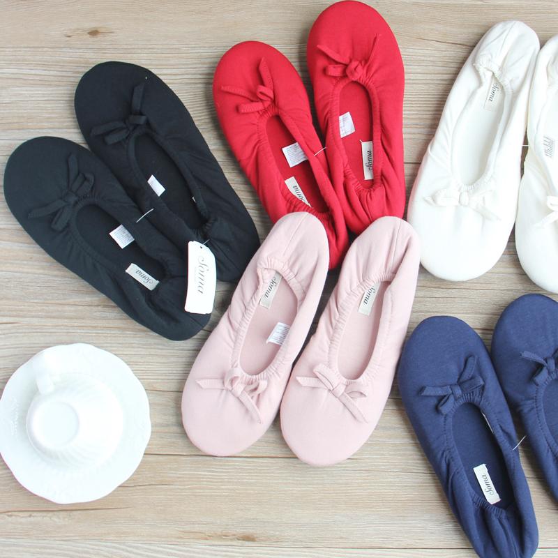 外贸原单春秋女士家居鞋针织舞蹈鞋轻便静音布底多色地板鞋瑜伽鞋